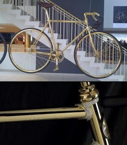 bicicletta oro e cristalli