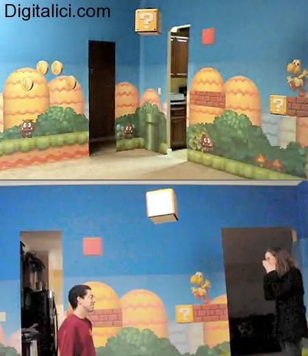 Soggiorno in stile Mario Bros. Per la domanda fatidica!